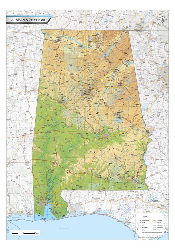 Physical map Alabama