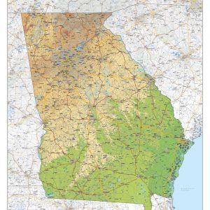 Physical map Georgia