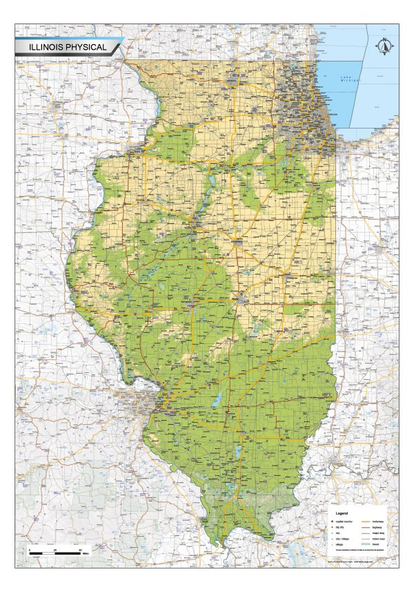 Physical map Illinois