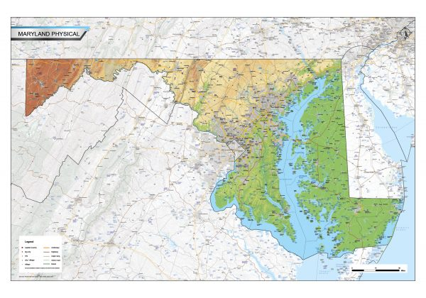 Physical map Maryland