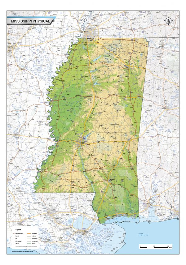 Physical map Mississippi