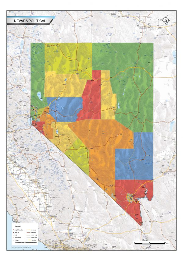 Political map Nevada