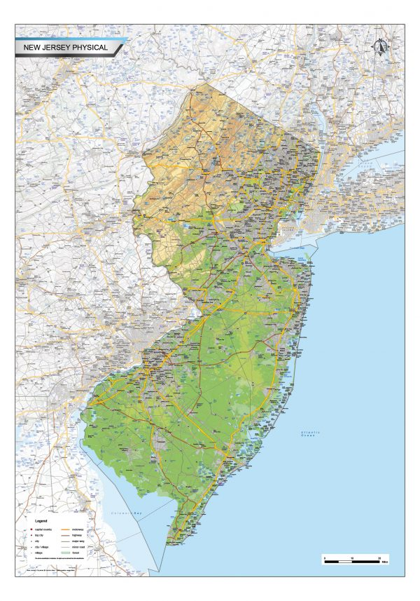 Physical map New Jersey