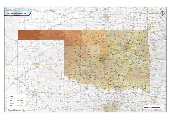 Physical map Oklahoma