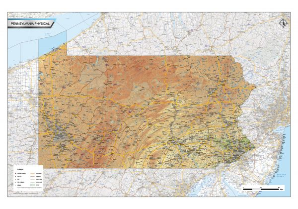 Physical map Pennsylvania