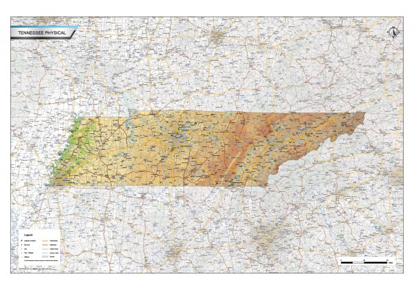 Physical map Tennessee