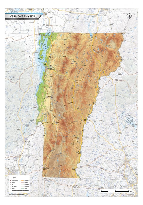 Physical map Vermont
