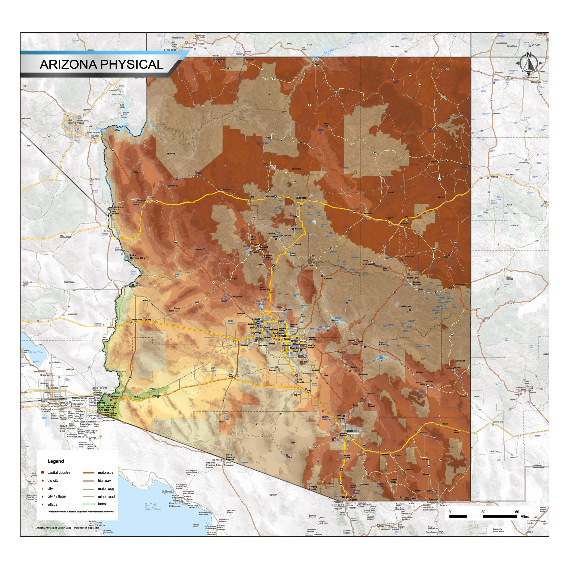 Picture of: Physical Map Arizona Vector Map Com