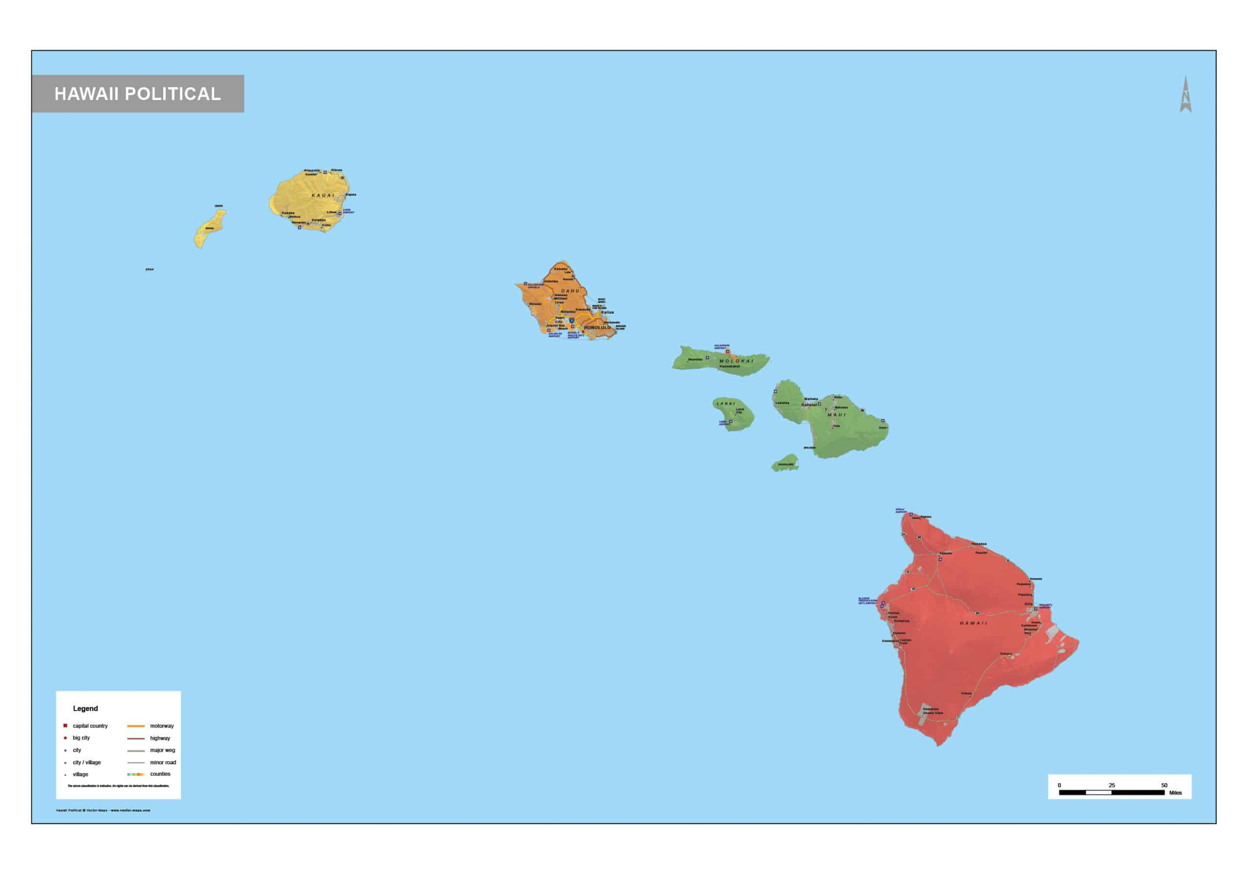 Picture of: Political Map Hawaii Vector Map Com